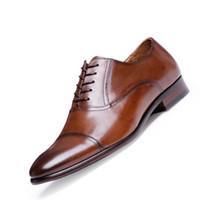 tam tahıllı deri ayakkabılar toptan satış-Tam Tahıl Deri İş Erkekler Erkekler Için Elbise Ayakkabı Retro Patent Deri Oxford Ayakkabı