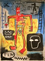 Wholesale painted tin for sale - Group buy JEAN MICHEL BASQUIAT TIN KING Home Decor Handpainted HD Print Oil Painting On Canvas Wall Art Canvas Pictures