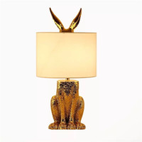 Wholesale fabric lamps resale online - Modern Table Lights Gold Masked Rabbit Cloth Lampshade Table Lamps Living Room Bedside Creative Led Desk Lamp