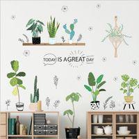 mural arts flor venda por atacado-Planta de jardim bonsai borboleta flor adesivos de parede home decor sala de estar cozinha pvc decalques de parede diy mural art decor