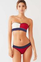 nouveaux maillots de bain d'été sans bretelles achat en gros de-En gros Parchwork Femmes Triangle Bikini Ensembles D'été Sexy Bretelles Femmes Maillots De Bain New Beachwear Bikini Pour Femmes Livraison Gratuite