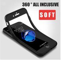 housses de téléphone complet pour iphone 5s achat en gros de-Coque de protection 360 ° pour iPhone 7 8 Plus avec coques en verre trempé Coque dure en PC pour iPhone 6 6S Plus X 5 5S SE Capa