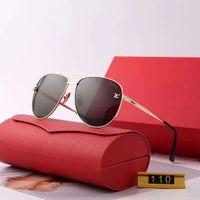 yüksek kaliteli sürüş camları toptan satış-Metal Erkek Kadın Tasarımcı Güneş Gözlüğü Moda Güneş Gözlüğü Adumbral Gözlüğü Araba Sürüş Gözlük UV400 Modeli 110 5 Renkler ile Yüksek Kalite kutu