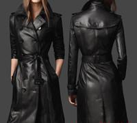 çift deri trençkot toptan satış-Kadın kış ceket gerçek deri koyun derisi dış giyim 2018 bayan Ceket Uzun Trençkot Kruvaze Tunik Ceket Kadın Deri ceket