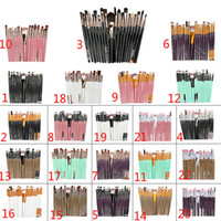 natur pcs großhandel-20 stücke marke Make-Up Pinsel Professionelle Kosmetik Pinsel set Mit natur Kontur Pulver Kosmetik Pinsel Make-Up