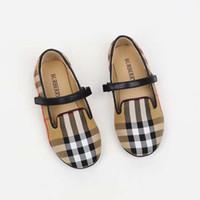 bebek deri ayakkabıları lastik tabanlar toptan satış-Çocuk kız ayakkabı kahverengi ekose klasik yaz yürüyüş atletik ayakkabı erkek bebek kız için Ab 24-33 deri vamp + kauçuk sole yüksek kalite