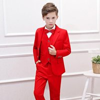 4384d892b Children's Blazers Baby Suits for Weddings Prom Suits Birthday Dress 2019  Spring New Red Kids Clothes Boy Piano Costume