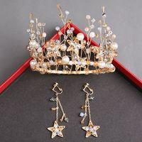 ingrosso ornamenti alla moda-Accessori da sposa fatti a mano con perline spose corona corona copricapo orecchini banchetto principessa corona d'oro capelli ornamento accessori