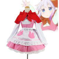 Wholesale pink maid cosplay online - red riding hood Miss Kobayashi s Dragon Maid Kamui Kanna The Match Girl Little Red Riding Hood Dress Uniform Meidofuku Cosplay Costumes