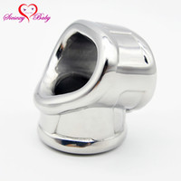 Wholesale chastity belt male lockable for sale - Group buy Scrotum Lock Stainless Steel Lockable Penis Cage Penis Cock Ring Sleeve Male Chastity Device Cage Belt Cockring Sex Toys A318 Y19052703