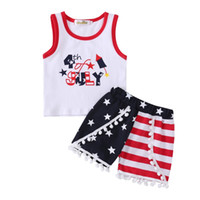 Wholesale kids girls jacket design for sale - INS th of July Baby Boys Girls Pieces Outfits US Flag Designs Sleeveless Tops Tees Kids Girls Ruffled Shorts Blue Red Stripes Sets