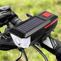 Wholesale solar bicycles resale online - 2020 Newest USB Solar Double Charging Bicycle Headlight USB Rechargeable LED Bike Head Light Front Lamp Cycling Horn L