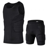 Wholesale training sweat suit for sale - Group buy Pro Honeycomb Basketball Training Sports Collision proof Vest Shorts Collision proof Clothes Basketball Tights Men Rugby Sweat Suit VVA238