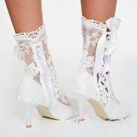 amerikanische schnürschuhe großhandel-New Vintage Europäischen und Amerikanischen Hochzeit Spitze Stiefel Hohl Verband High Heels Sensory Spring Modest Hochzeitsschuhe Für Damen Stiefel