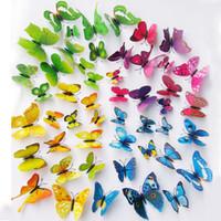 york gummi großhandel-Hot 3D Schmetterling Wandaufkleber 12 STÜCKE Kühlschrank stick Decor Für Kühlschrankmagnete Küche Wohnzimmer Home DecorationT2I5368