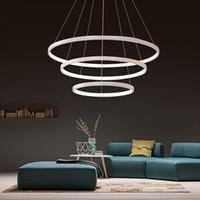 colgante de luz de techo de aluminio al por mayor-40 cm 60 cm 80 cm luces colgantes modernas para sala de estar comedor anillos circulares cuerpo de aluminio acrílico LED lámpara de techo accesorio