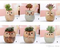 ingrosso piccoli vasi da giardino-Cartone animato a forma di fiore a forma di vaso per piante grasse Piante carnose Vaso di fiori in ceramica Piccola mini casa / giardino / decorazione ufficio