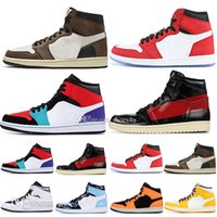 sapatos de homem b venda por atacado-1 alta OG Travis Scotts tênis de basquete Homem Aranha UNC 1 s top 3 Homenagem Mens Para Casa Azul Royal Men Sport Designer Tênis Tênis