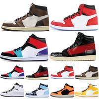 erkekler için basketbol ayakkabıları toptan satış-1 Yüksek OG Travis Scotts Basketbol ayakkabıları Spiderman UNC 1 s üst 3 Mens Kraliyet Ev Kraliyet Mavi Erkekler Spor Tasarımcısı Sneakers Eğitmenler