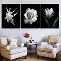 impresiones en rosa blanco negro al por mayor-Nordic Black White Abstract Flower In Blossom Poster Canvas Art Print Wall Pictures Rose Tulip Painting Scandinavian