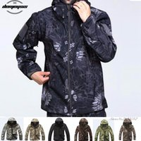 Wholesale military clothing army for sale - Group buy High quality Waterproof Windproof Army Clothing Shark skin Soft Shell Military Tactical camouflage Jacket set T190919
