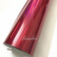 motocicleta vermelho cromo venda por atacado-1.52x20 M Bolha de Ar Livre Rosa Red Laser Cromo Holográfico Rainbow Vinyl Para Motocicleta Todo o Corpo de Embrulho