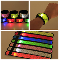 Wholesale glowing light toys resale online - Led Wristband LED Sport Slap Wrist Strap Grid Flash Bracelet Light Bands Glowing Armband Strap Party Concert Halloween decor props FFA2644