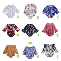macacão de coelho bebê venda por atacado-9 estilos Coelho Bebés Meninas Animais Flor Onesies Macacãozinho Long Sleeve Kids Clothing Floral Jumpsuit Bodysuit Playsuit bebê veste 0-24M