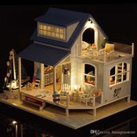 freie hausmöbel großhandel-2018 kostenloser versand Miniatur Holz Puppenhaus Möbel Kits Spielzeug Handgemachte Handwerk Miniatur Modell Kit Puppenhaus Spielzeug Geschenk Für ChildrenA037