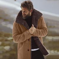 искусственные овчины куртки мужчин оптовых-Feitong мужская зимняя овчина бомбардировщик куртка зима теплая шерсть подкладка Горный искусственный ягненок Куртки пальто мужской chaqueta hombre 2018