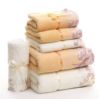 flores de rosto de banho venda por atacado-Algodão Flor Malha Animal Grosso Macio Impressão Spa Rosto Bath Towel Set Para Adultos Crianças Mão de Cozinha Hotel Absorção De Toalha De Cabelo