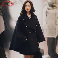 abrigo exterior largo al por mayor-2019 Invierno Gorra negra Abrigo Mezcla de lana gruesa Paño Mujeres Doble botonadura Largo Suelto Casual Exterior
