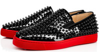 sneaker-designs groihandel-Freizeitschuhe der Frauen Männer Designer Low voll Silber Spikes Roller Boot Flats Skateboard Loafers Design Mann-Frauen-Schuh Hot Red Bottom-Turnschuhe