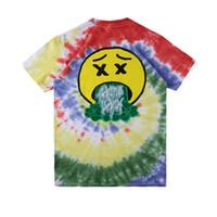 mujeres teñir las camisetas al por mayor-19SS Travis Scott Europa Tie Dye Camiseta con logo Teñido con corbata Camiseta Moda casual Manga corta Hombres Mujeres Monopatín Camiseta de verano HFLSTX465