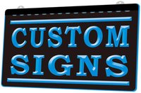 Wholesale led custom bar signs resale online - LS0002 Custom Signs Plaque NEW D Engraving LED Light Sign Customize on Demand colors