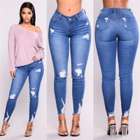 leggings azules para mujer al por mayor-Light Luxury Hole Tight Leggings Fashion Casual Womens Jeans Elastic Skinny Pencil Pants Blue Classic Design Ropa de mujer