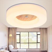 Wholesale brush meter resale online - LED Wood Acrylic Round Ceiling Light Fixture Modern Style Flush Mount Plafon Plafonier Lamp Luminaria Foyer Bedroom Living Room