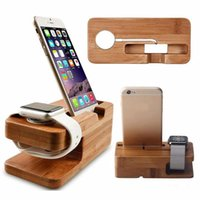 Wholesale tablet charging stand for sale – best Real Bamboo Wood Desktop Stand For iPad Tablet Bracket Docking Holder Charger For iPhone Charging Dock Watch