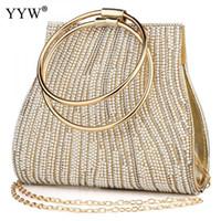 бисерные сумочки оптовых-Мешок основной Femme женщины круг кольцо кошелек и сумочка горный хрусталь бисером женская сумка Роскошные Сумки женские сумки дизайнер