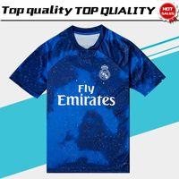 12 mavi formalı toptan satış-2019 Real Madrid Sınırlı Sayıda futbol Forması Mavi EA Spor Formalar # 12 MARCELO # 10 MODRIK Gerçek Madrid özel sürüm futbol Gömlek