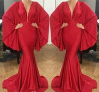 ingrosso abiti da sera di stile spiaggia-2019 Red Sexy Modest Abito da sera Arabo Dubai Style Long Beach Wear Pageant Prom Party Gown Custom Made Plus Size