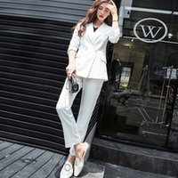 женская прямая куртка оптовых-Double Breasted White Women Classic Pant Suits Notched Collar Blazer Jacket & Straight Pants Office Ladies Female Sets