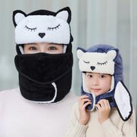 Wholesale crochet flap hat for sale - Group buy cartoon Warm Winter hat Mask Earflap Ski Hat Hiking kids adult Winter Warm Ear Flap hat LJJK1776