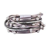 breite leder strass armbänder großhandel-Mehrschichtige Strass Breite Lederarmband Frauen wickeln magnetische Charme Boho Samt Armband