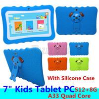 china touch screen android venda por atacado-Barata Crianças Tablet PC 7 polegadas Allwinner A33 Quad Core 512 8GB crianças tablets Android 4.4 wi-fi alto-falante grande + Silicone presente do caso