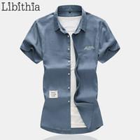 черная белая льняная одежда оптовых-Мужские повседневные льняные рубашки Лето Большой размер 7XL с коротким рукавом Мужчины Социальная рубашка Стандартный белый черный хаки сине-серый Одежда Мужской A36