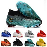messi botas negras baratos al por mayor-Mercurial Superfly VI Elite SG AC XII Elite SG AC VII Ronaldo 6 12 CR7 NJR Neymar Hombres Zapatos de fútbol Botas de fútbol