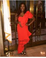 vestido de sirena asimetrico al por mayor-Elegantes vestidos de fiesta divididos sirena asimétrica africana de un hombro longitud del piso nigeriano baratos largos vestidos de fiesta de noche de celebridades