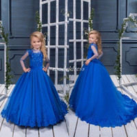 Wholesale girl models for sale - Blue Sweet Flower Girl Dresses Jewel Long Sleeve Sweep Train A Line Appliques Beads First Holy Communion Dress Girls Pageant Dress