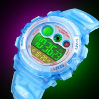 reloj de chicas a prueba de agua de alarma al por mayor-Venta al por mayor SKMEI Niños Reloj Boy Impermeable LED Digital Reloj Deportivo Niños Estudiantes Alarma Fecha Reloj para Niños Niña Regalo Reloj Deportivo